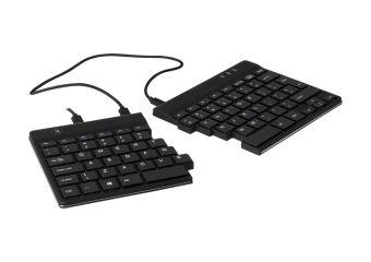 R-Go Split Ergonomiske tastatur, QWERTY (UK), sort, kablet