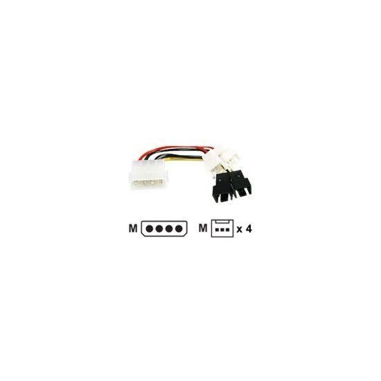 Deltaco Molex til 4X 3-pin adaptere blæsereffekt