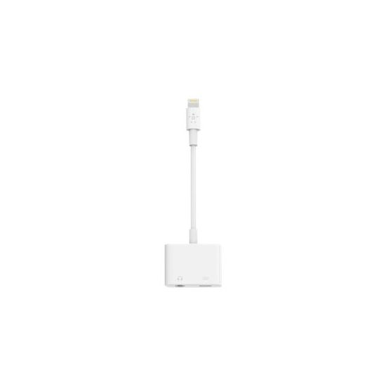 Belkin Lightning Audio + Charge RockStar - Lightning ttil hovedtelefon-jackstik/opladningsadapter - Lightning / audio