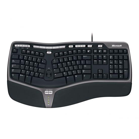 Microsoft Natural Ergonomic Keyboard 4000 - tastatur - UK QWERTY - sort, sølv