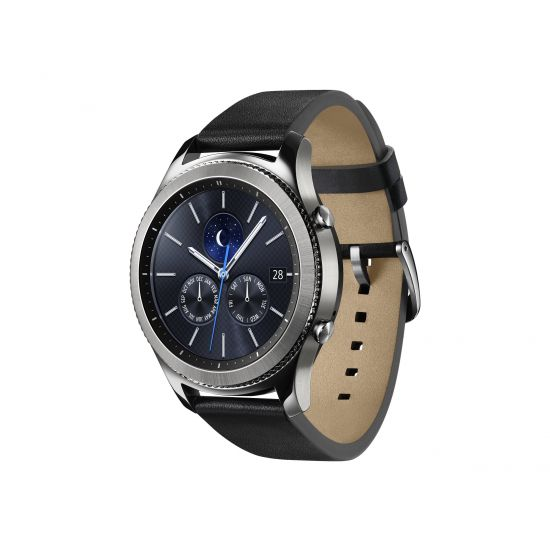 Samsung Gear S3 Classic - sølv - smart ur med bånd - sort - 4 GB