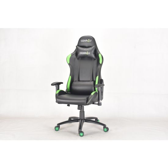 GEAR4U Elite Pro Gamer Stol Sort/Grøn