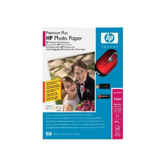 HP Premium Plus Value Pack with Free Cordless Mouse - fotopapir - 50 ark - A4 - kampagne