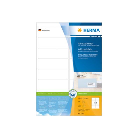 HERMA Premium - laminerede adressemærkater - 1600 etikette(r)
