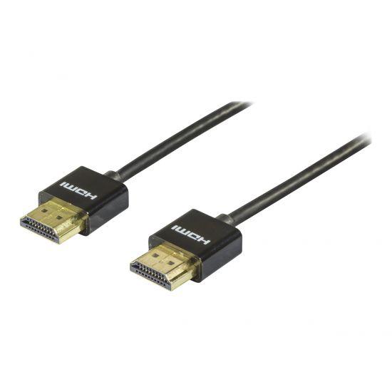 DELTACO HDMI til HDMI kabel Tyndt 2 m Sort