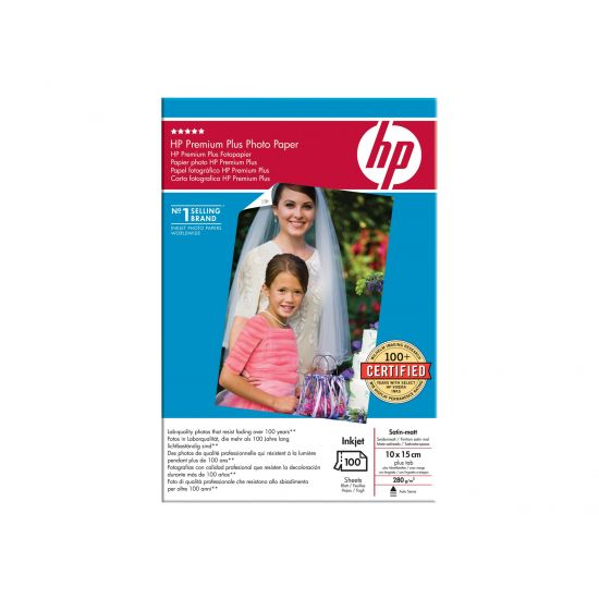 HP Premium Plus Photo Paper - fotopapir - 100 ark - 100 x 150 mm - 280 g/m²