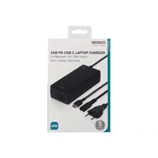 DELTACO SMP-USBC45PD - strømforsyningsadapter - 45 Watt