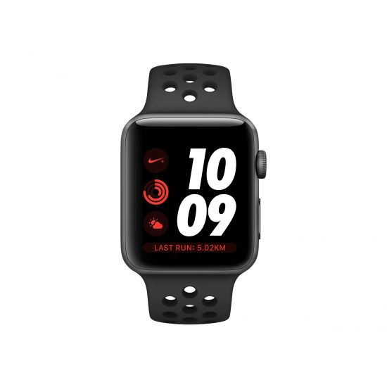 Apple Watch Nike+ Series 3 (GPS + Cellular) - rumgråt aluminium - smart ur med Nike-sportsbånd - antracit/sort - 16 GB - ikke specificeret