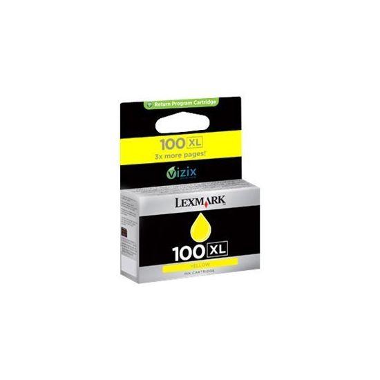 Lexmark Cartridge No. 100XL - Højtydende - gul - original - blækpatron - LCCP, LRP