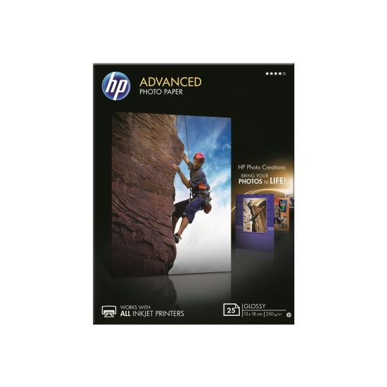 HP Advanced Glossy Photo Paper - fotopapir - 25 ark - 130 x 180 mm