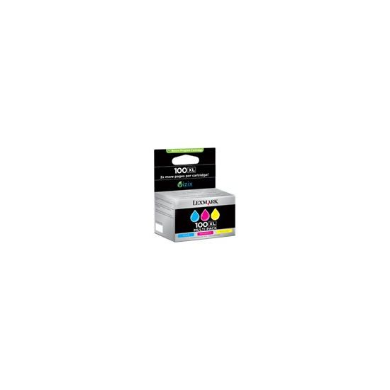 Lexmark Cartridge No. 100XL - 3 pakker - Højtydende - gul, cyan, magenta - original - blækpatron - LRP