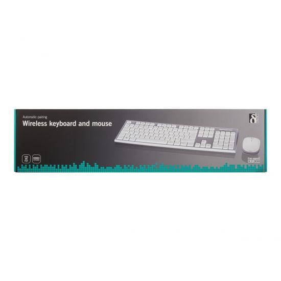 DELTACO TB-299 - tastatur og mus-sæt - Nordisk - hvid/grå