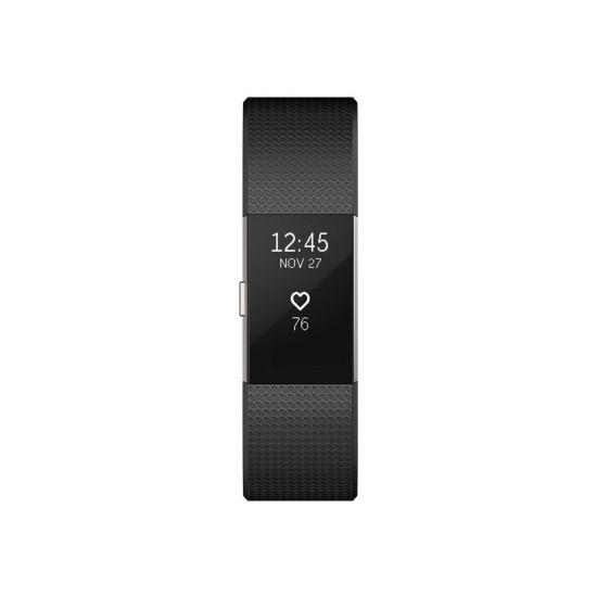 Fitbit Charge 2 - sølv - aktivitetssporer med bånd - sort - sølv