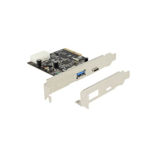 DeLock PCI Express x4 Card > 1 x external USB Type-C female + 1 x external type A female SuperSpeed USB 10 Gbps (USB 3.1, Gen 2) - USB-adapter