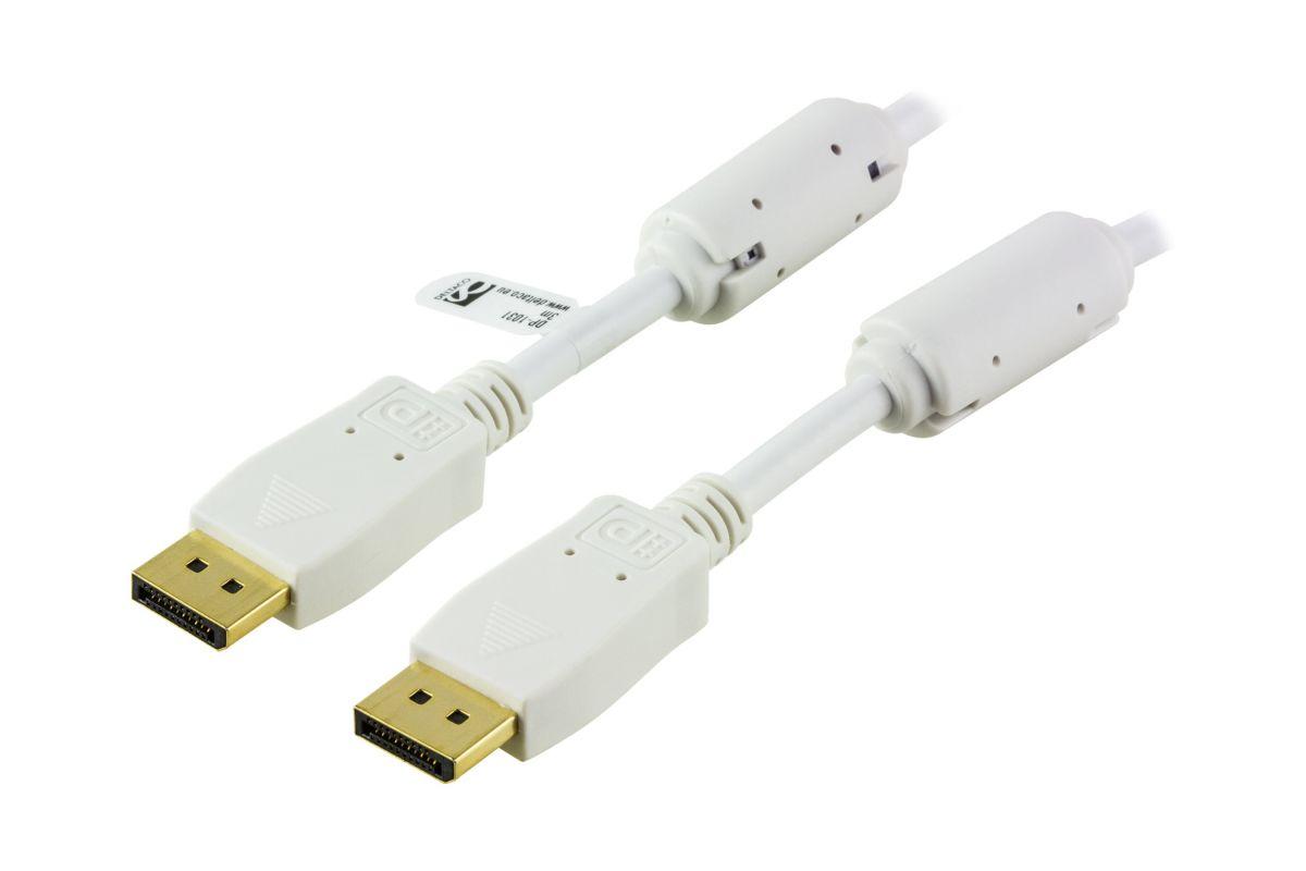 DELTACO DisplayPort kabel 1 m Hvid