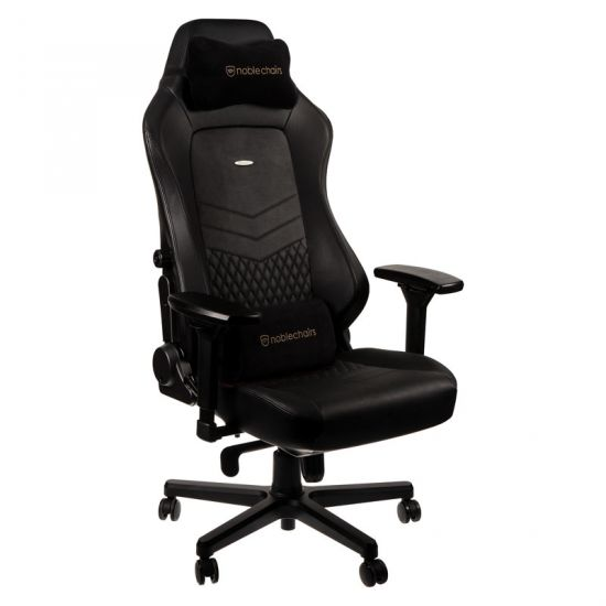 noblechairs HERO Real Leather Gaming Chair - Black/Black