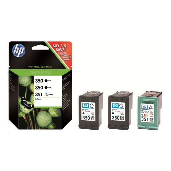 HP 350/350/351 - 3 pakker - sort, farve (cyan, magenta, gul) - original - blækpatron