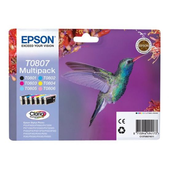 Epson T0807 Multipack - sort, gul, cyan, magenta, lys magenta, lys cyan - original - blækpatron