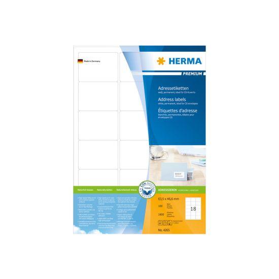 HERMA Premium - laminerede adressemærkater - 1800 etikette(r)