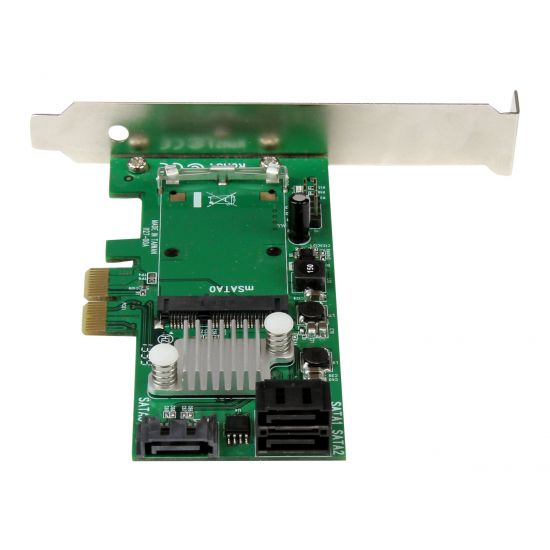 StarTech.com 3 Port PCI Express 2.0 SATA III 6 Gbps RAID Controller Card w/ mSATA Slot and HyperDuo SSD Tiering - styreenhed til lagring (RAID) - SATA 6Gb/s - PCIe 2.0 x2