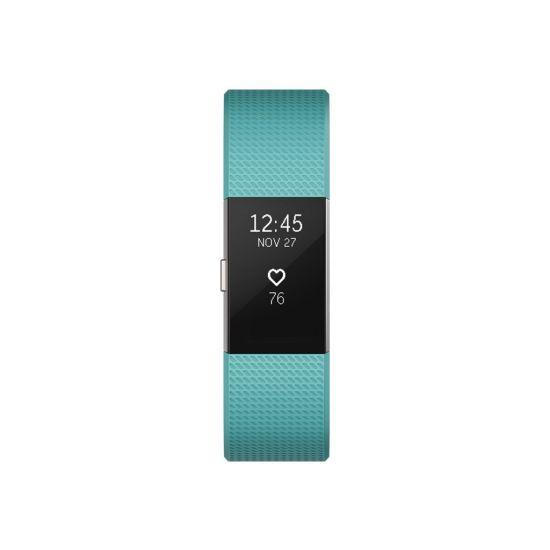 Fitbit Charge 2 - sølv - aktivitetssporer med bånd - grønblå - sølv