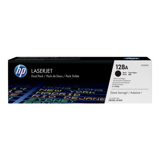 HP 128A - 2 pakker - sort - original - LaserJet - tonerpatron (CE320AD)