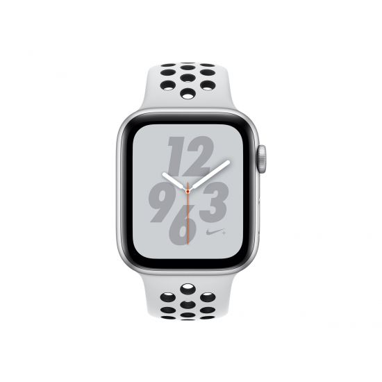 Apple Watch Nike+ Series 4 (GPS) - sølvaluminium - smart ur med Nike-sportsbånd - ren platin/sort - 16 GB