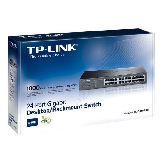 TP-Link TL-SG1024D - switch - 24 porte - monterbar på stativ