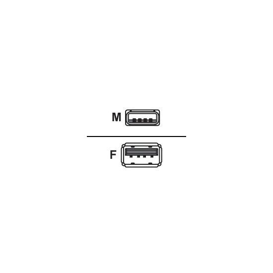 DELTACO USB forlængerkabel 3 m Grå