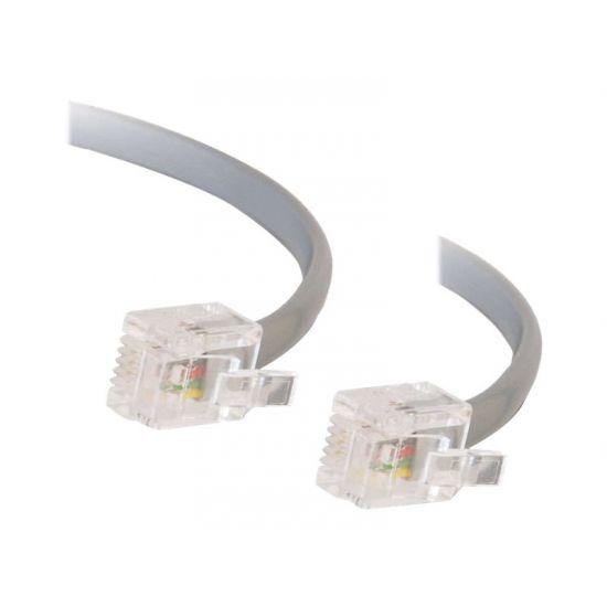 C2G RJ11 6P4C Straight Modular Cable - telefonkabel - 5 m - grå