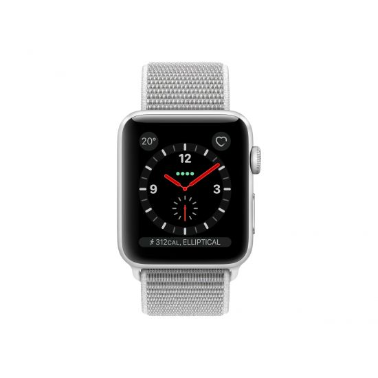 Apple Watch Series 3 (GPS + Cellular) - sølvaluminium - smart ur med sportsløkke - muslingeskal - 16 GB - ikke specificeret
