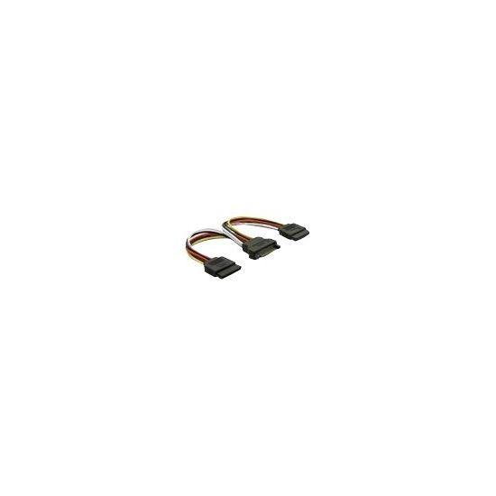 Deltaco SATA-15 pin strøm-splitter 10 cm