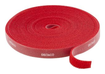 DELTACO Hook and loop fastener cable ties, width 9mm, 5m, red