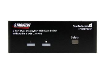 StarTech.com 2 Port Dual DisplayPort USB KVM Switch w/ Audio & USB Hub