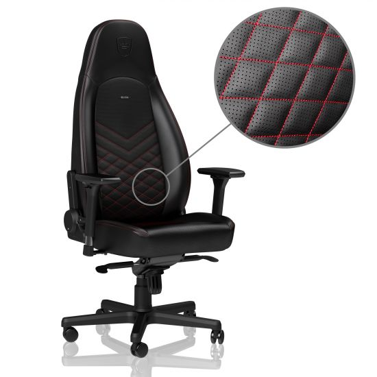 Noble Chairs ICON Series Faux Leather Black/Red