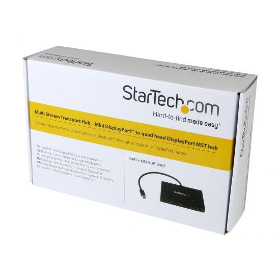 StarTech.com Mini DisplayPort to DP Multi Monitor Splitter - 4-Port MST Hub - videosplitter - 4 porte