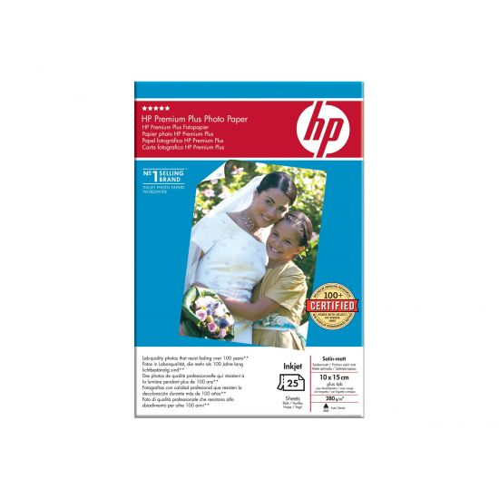 HP Premium Plus Photo Paper - fotopapir - 25 ark - 100 x 150 mm - 280 g/m²