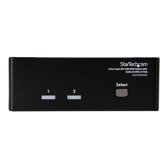 StarTech.com 2 Port Dual DVI USB KVM Switch w/ Audio & USB Hub - KVM / audio / USB switch - 2 porte