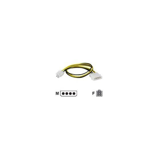 Deltaco Adapterkabel 4-pins kontakt til ATX12V  - 30cm