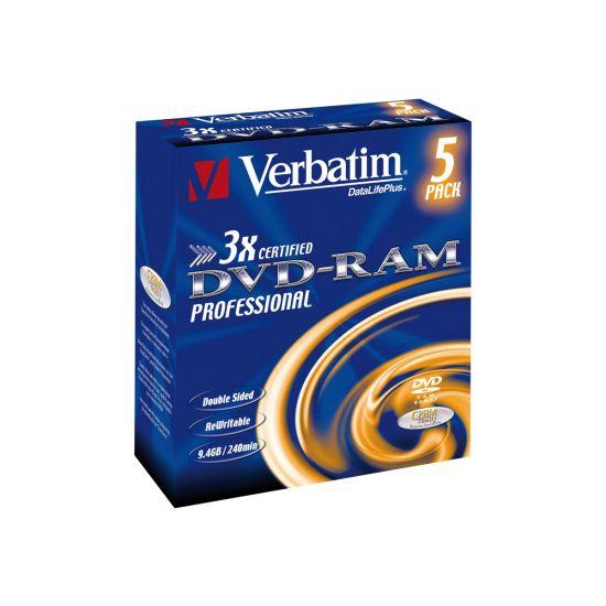 Verbatim DataLifePlus - DVD-RAM x 5 - 9.4 GB - lagringsmedie