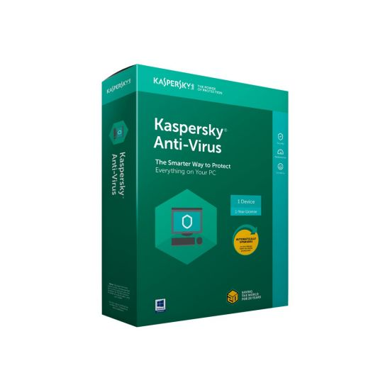 Kaspersky Anti-Virus 2018 - bokspakke (1 år) - 3 PC'er