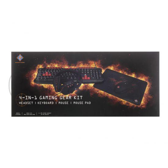 DELTACO 4-in-1 Gaming Gear Kit - tastatur, mus, headset og musemåtte - Nordisk