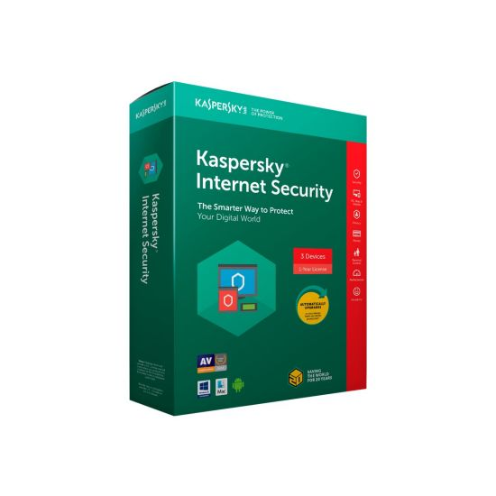 Kaspersky Internet Security 2018 - bokspakke (1 år) - 3 enheder