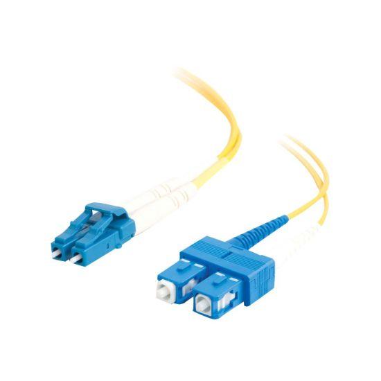C2G LC-SC 9/125 OS1 Duplex Singlemode PVC Fiber Optic Cable (LSZH) - patchkabel - 3 m. - gul