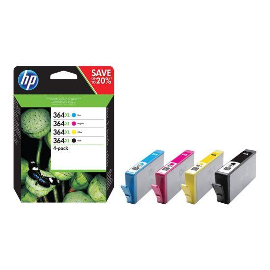 HP 364XL - 4 pakker - Højtydende - sort, gul, cyan, magenta - original - blækpatron