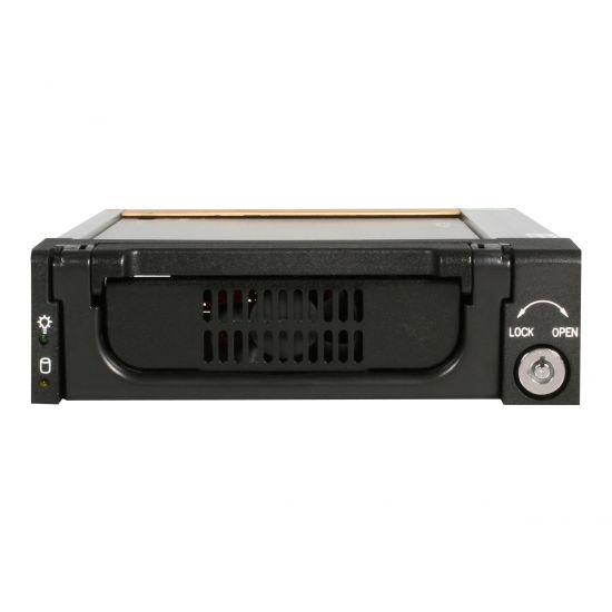 StarTech.com Black Aluminum 5.25in Rugged SATA Hard Drive Mobile Rack Drawer - lagrings mobil rack