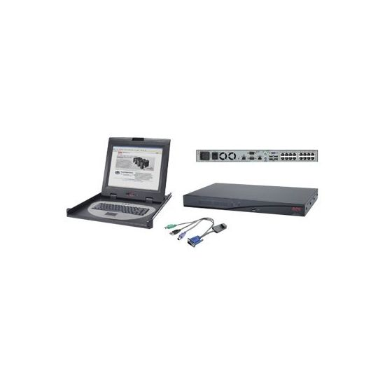 "APC 2x1x16 Digital KVM with APC 17"" Rack LCD Monitor Keyboard Mouse - KVM-konsol - 17"" - med 8 CAT5/IP KVM PS/2 Server Modules"
