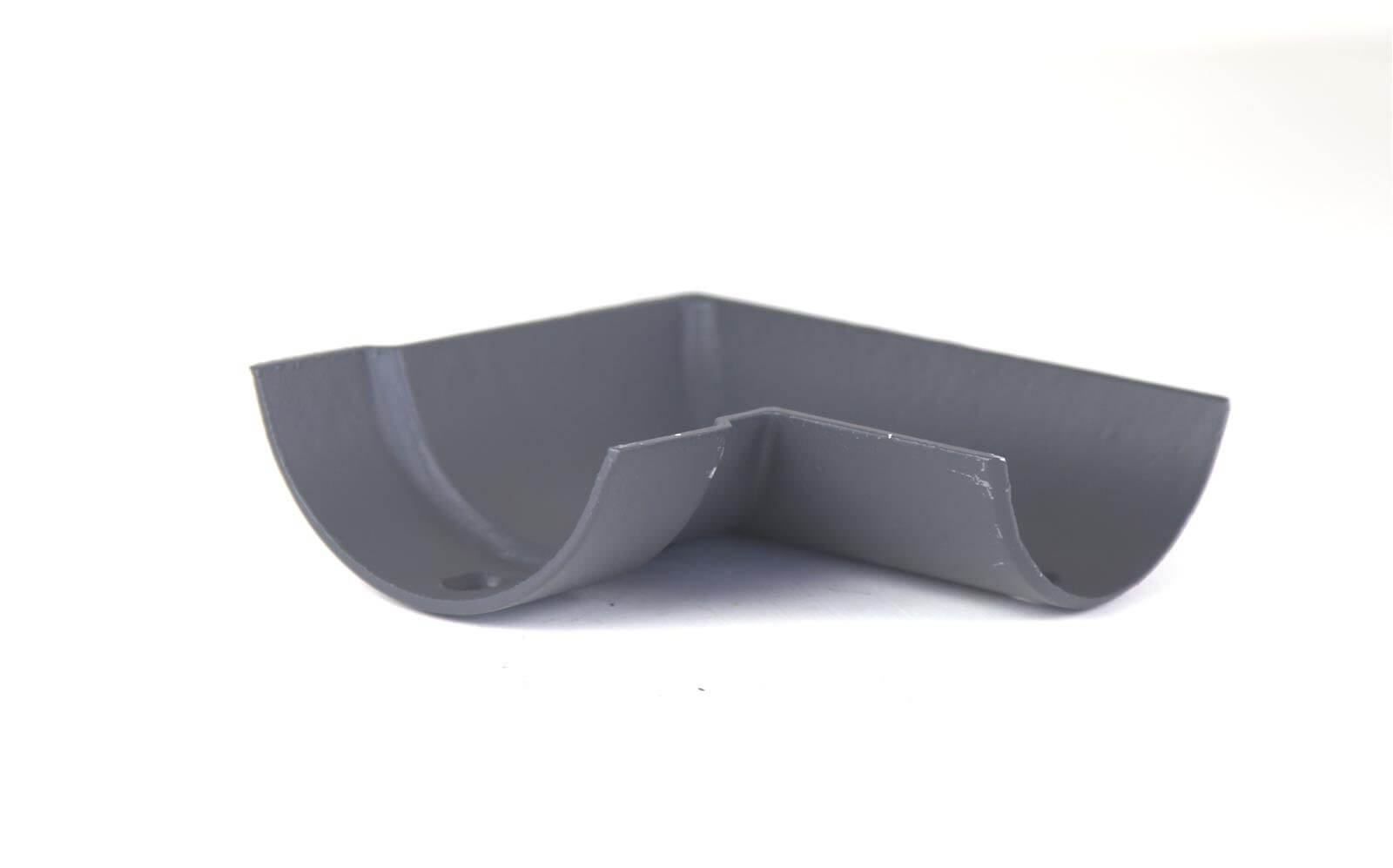 Cast Iron Half Round Gutter Right Hand Angle - 90 Degree x 125mm Primed