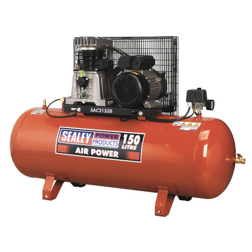 Sealey SAC2153B 150ltr Belt Drive Compressor 3hp With Cast Cylinders