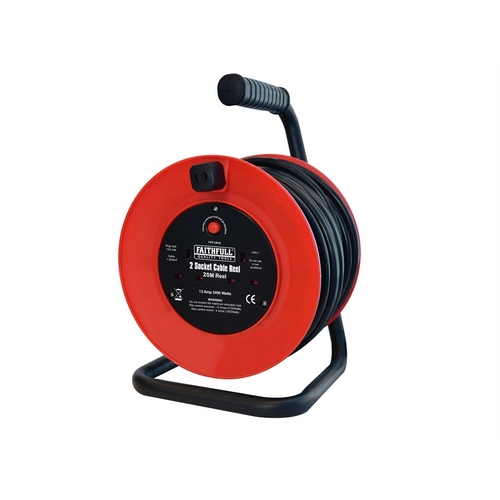 Faithfull FPPCR20M Open Frame Cable Reel With Thermal Protection 20m 240 Volt - XMS17CABLE20